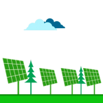 solar panels and trees